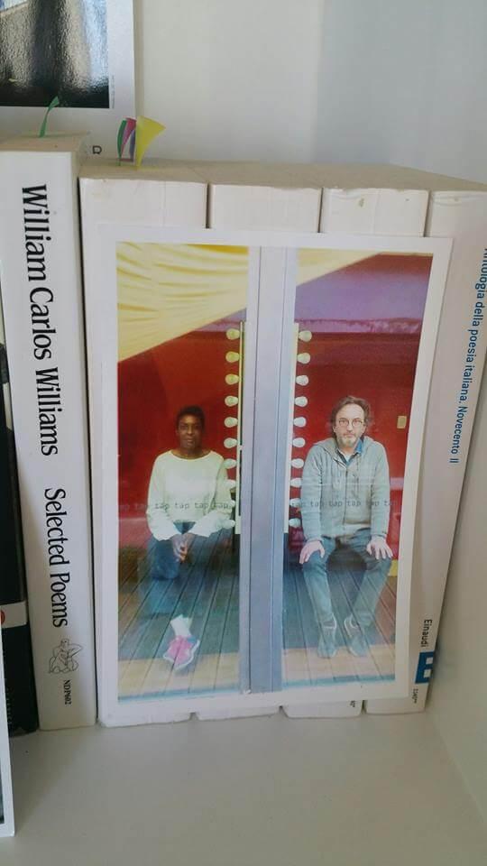 Andrea and Helga on a bookshelves