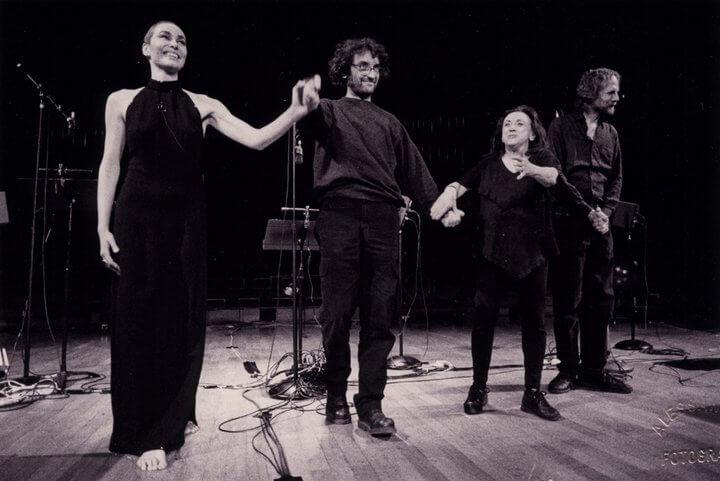 Andrea with Ottavia Fusco, Judith Malina and Hanon ReznikovMaison de la Radio, Paris 2000 - Ph. Alessandra Vinotto